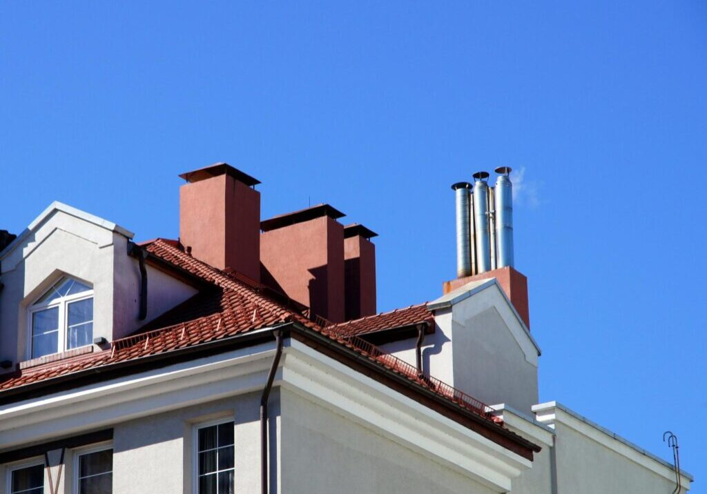 house with a lot of chimney